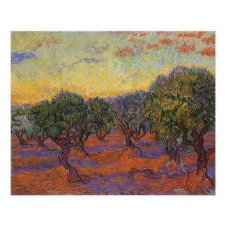 Olive Grove Orange Sky by Vincent van Gogh Posters