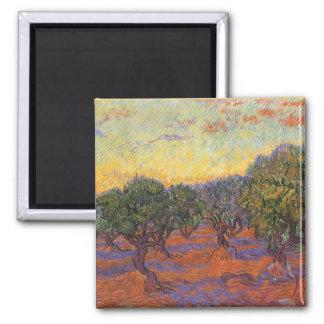 Olive Grove, Orange Sky by Vincent van Gogh Square Magnet