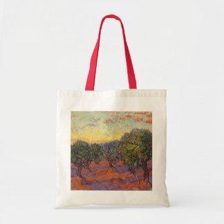Olive Grove, Orange Sky by Vincent van Gogh Tote Bag