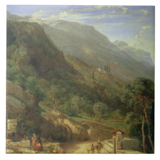 Olive Groves at Varenna, Lake Como, Italy, 1861 (o Large Square Tile