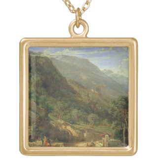 Olive Groves at Varenna, Lake Como, Italy, 1861 (o Square Pendant Necklace