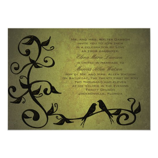 Olive Grunge Vines Wedding Invitation