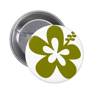 olive hibiscus aloha flower pinback buttons