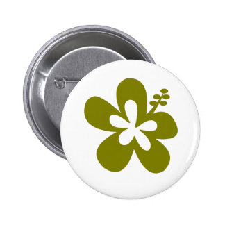 olive hibiscus aloha flower pinback button