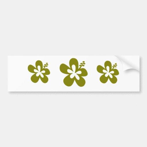 olive hibiscus aloha flower bumper sticker