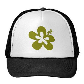 olive hibiscus aloha flower trucker hat