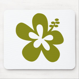 olive hibiscus aloha flower mouse pad