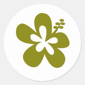 olive hibiscus aloha flower round stickers
