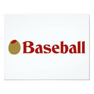 Olive (I Love) Baseball 4.25x5.5 Paper Invitation Card