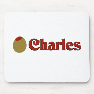 Olive I Love Charles Mouse Pad