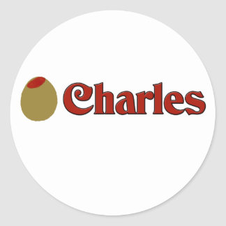 Olive (I Love) Charles Round Stickers