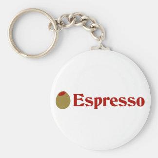 Olive (I Love) Espresso Basic Round Button Key Ring