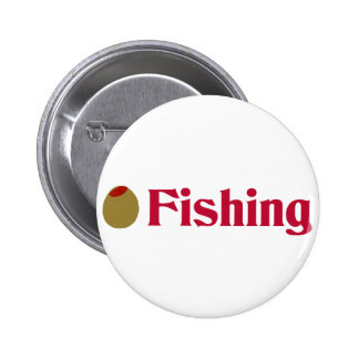 Olive (I Love) Fishing Button
