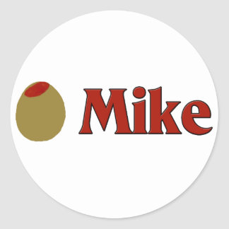 Olive (I Love) Mike Round Stickers