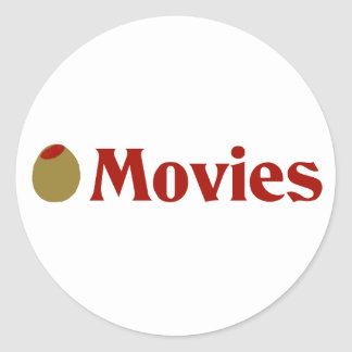 Olive (I Love) Movies Round Sticker