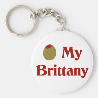 Olive (I Love) My Brittany Key Ring