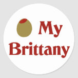 Olive (I Love) My Brittany Round Stickers