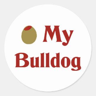 Olive (I Love) My Bulldog Stickers