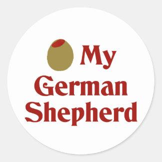 Olive (I Love) My German Shepherd Classic Round Sticker