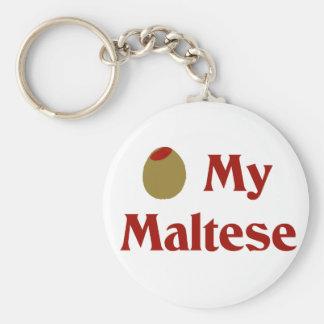 Olive (I Love) My Maltese Basic Round Button Key Ring