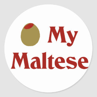 Olive (I Love) My Maltese Classic Round Sticker