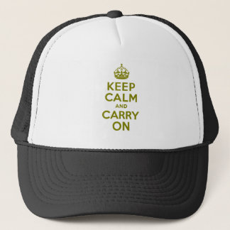 Olive Keep Calm and Carry On Trucker Hat