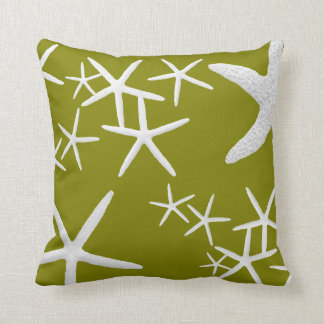 Olive Khaki Green Starfish Coastal Throw Pillow