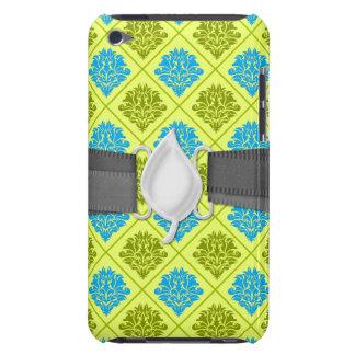 olive kiwi green blue diamond damask barely there iPod case