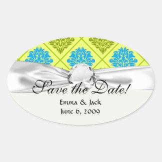 olive kiwi green blue diamond damask oval sticker