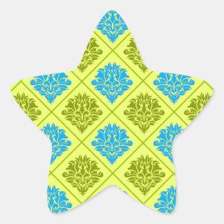 olive kiwi green blue diamond damask star sticker