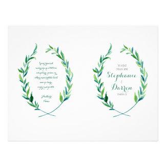 Olive Laurel Leaf Wreath Modern Ceremony Program 21.5 Cm X 28 Cm Flyer
