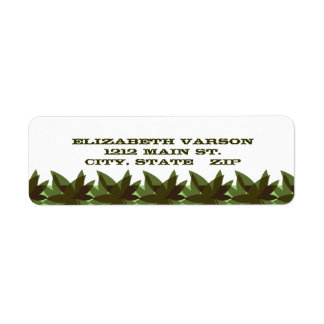 Olive Layered Leaves Return Address Labels