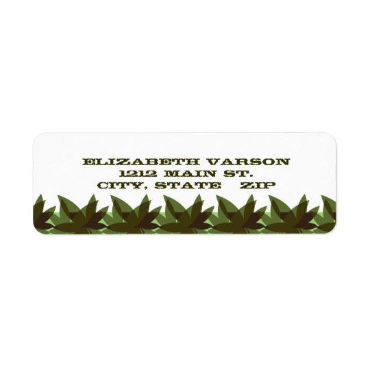 Olive Layered Leaves Return Address Labels