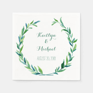 Olive Leaf Laurel Wreath Simple Modern Reception Disposable Serviettes