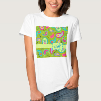 Olive Lime Green Modern Paisley Pattern Monogram T-Shirt