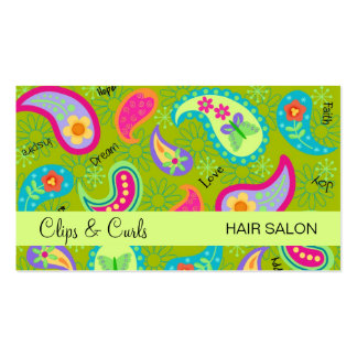 Olive & Lime Green Modern Paisley Pattern Pack Of Standard Business Cards