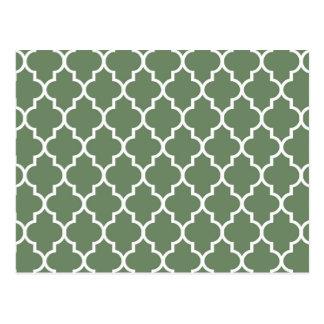 Olive Moroccan Quatrefoil Pattern Postcard