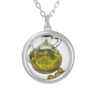 Olive Oil Round Pendant Necklace