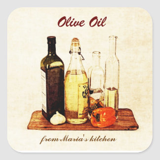 Olive oil - vegetable oil bottles with veggies square sticker