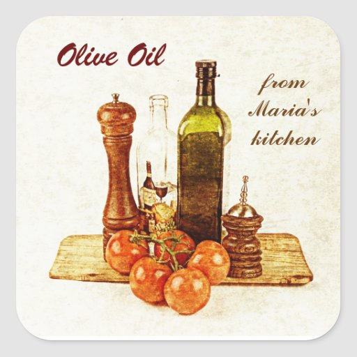 Olive oil - vegetable oil bottles with veggies square stickers