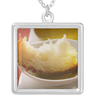 Olive oil with white bread personalized necklace