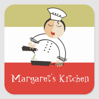 Olive oil woman chef kitchen or food gift tags square sticker