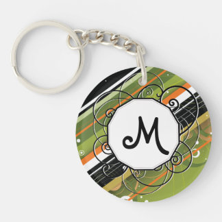 Olive Orange Modern-Retro Stripes with Monogram Acrylic Key Chain