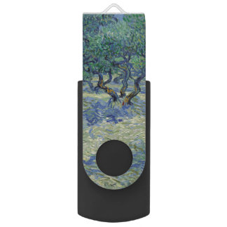 Olive Orchard by Vincent Van Gogh Swivel USB 2.0 Flash Drive