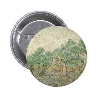 Olive Picking by van Gogh, Vintage Impressionism 6 Cm Round Badge
