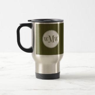 Olive Pinstripe Monogram Mug