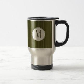 Olive Pinstripe Single Monogram Mug