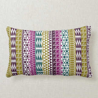 Olive Purple Teal Geo Aztec Tribal Print Pattern Lumbar Cushion