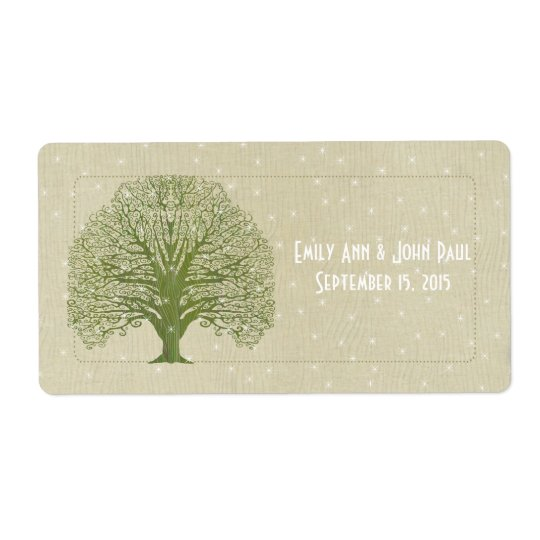 Olive Swirl Tree on Wood Grain Stars Save the Date Shipping Label