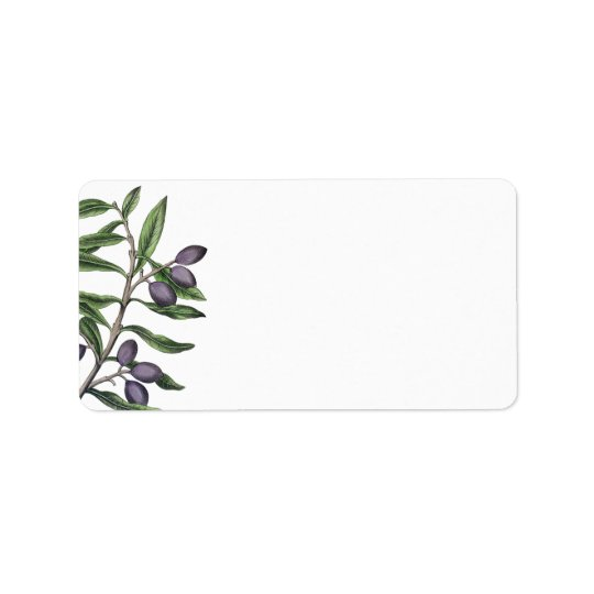 Olive Tree Branch | Green Purple Address Label
